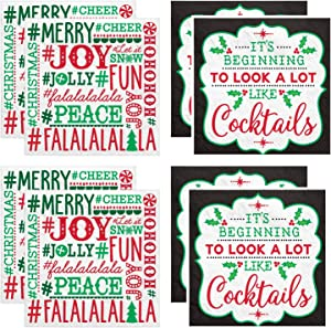 """Holiday Cocktail Beverage Napkin Set - Two Different Patterns of (16 Each) Napkins;""""It's Beginning to Look A Lot Like Cocktails"""" and Holiday Word Script"""