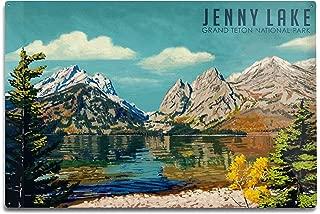product image for Lantern Press Grand Teton National Park, Wyoming - Jenny Lake - Oil Painting 98025 (6x9 Aluminum Wall Sign, Wall Decor Ready to Hang)