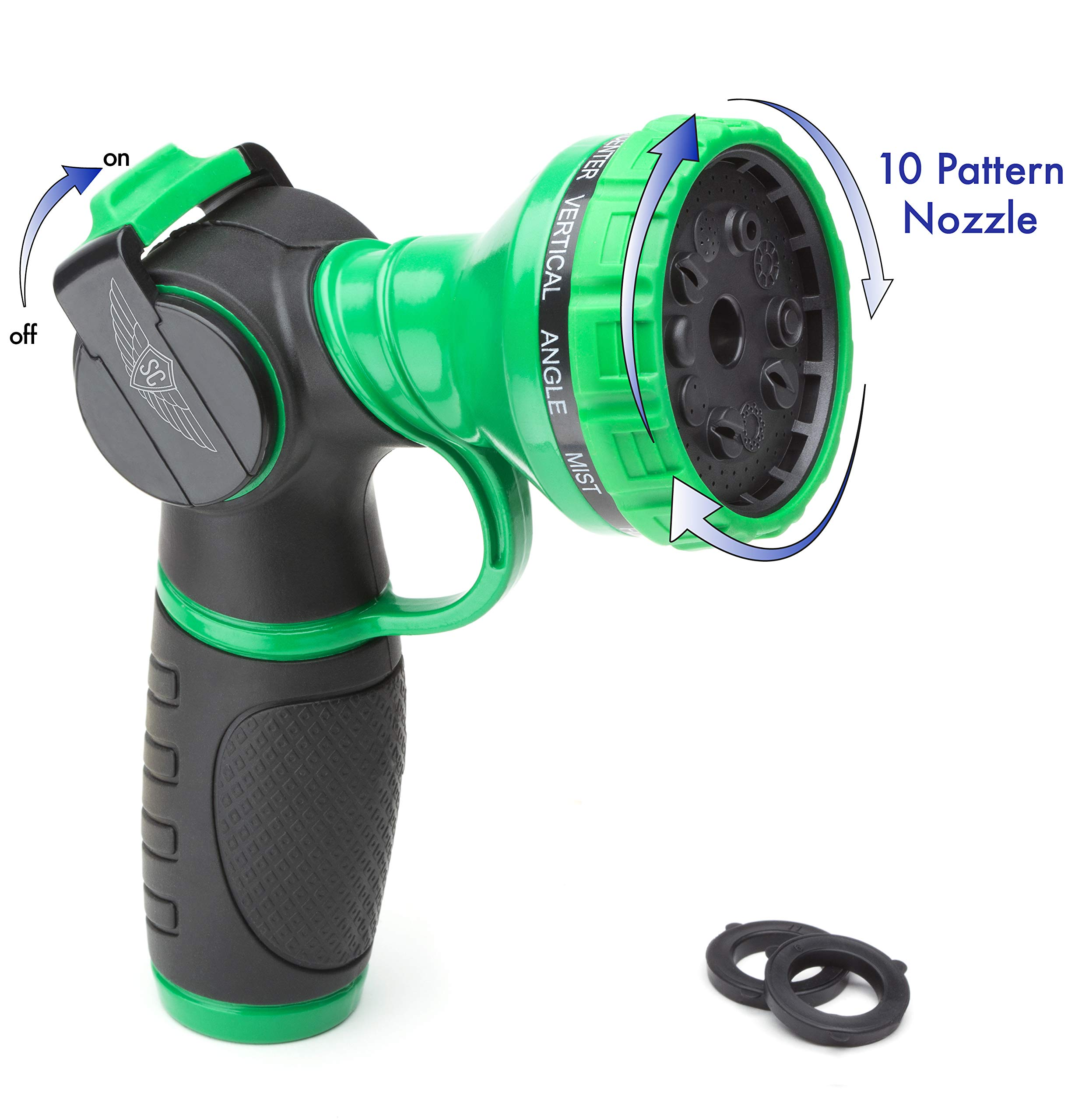 SC Water Metal Garden Hose Nozzle Anti Leak Heavy Duty 10 Pattern Anti Rust No Squeeze Sprayer High Pressure Attachment Car Wash Pet Shower Watering Plants + 1 Year Manufacturing Warranty