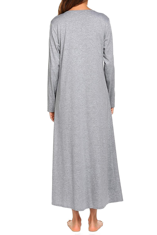 e09fa678f2efd2 Produktbeschreibungen. Damen Nachthemd Baumwolle Lang Schlafkleid Jersey  Nachtkleid Sleepshirt Lange Ärmel V-ausschnitt Hemdkleid