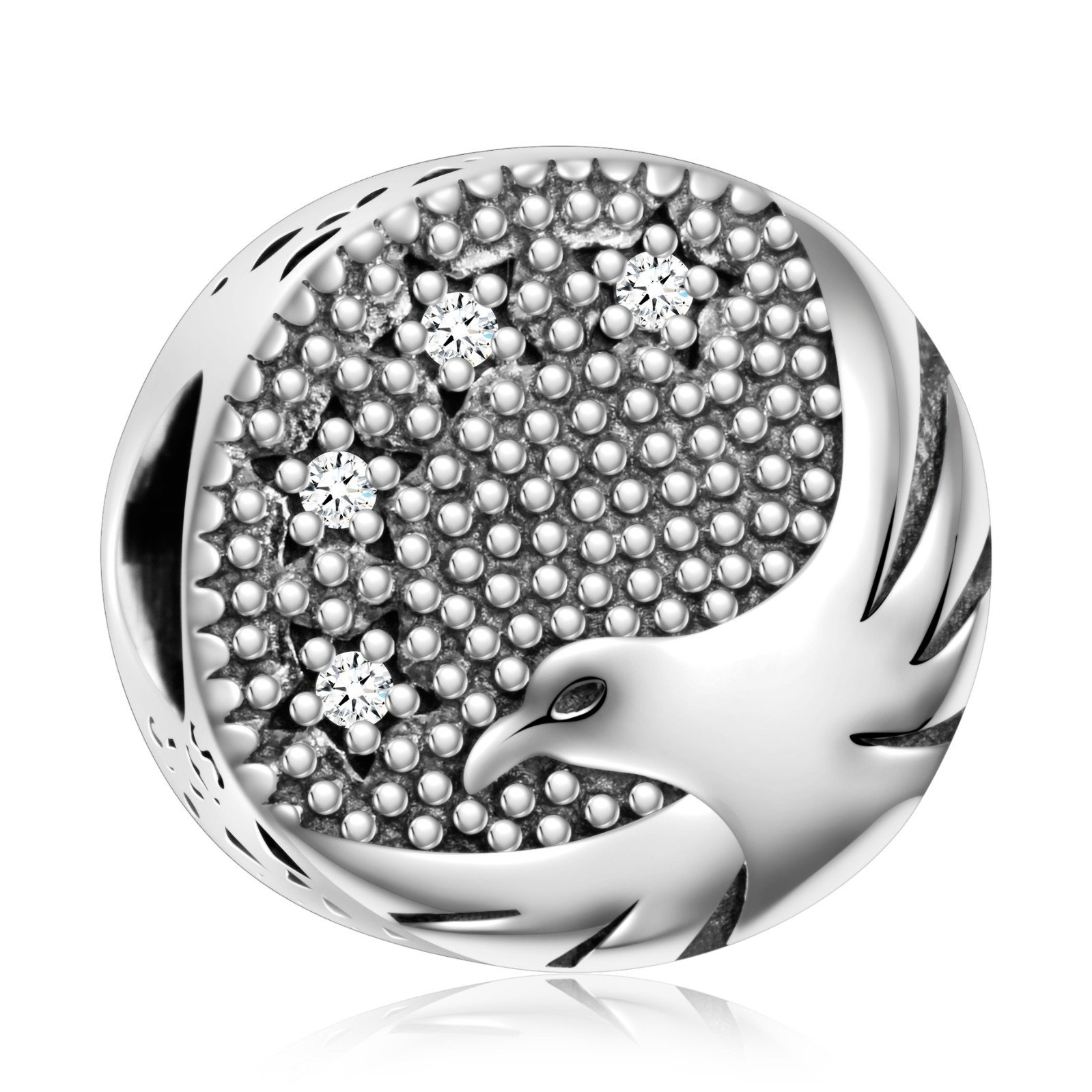 925 Sterling Silver''Bird Of Freedom'' American Bald Eagle Charm Bead for European Snake Bracelets