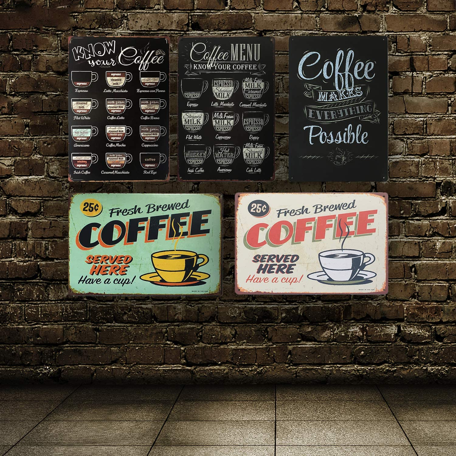 Small Coffee Menu Know Your Coffee Metal Signs Kitchen Decor and Accessories 8 X 12 Inches UNIQUELOVER Coffee Bar