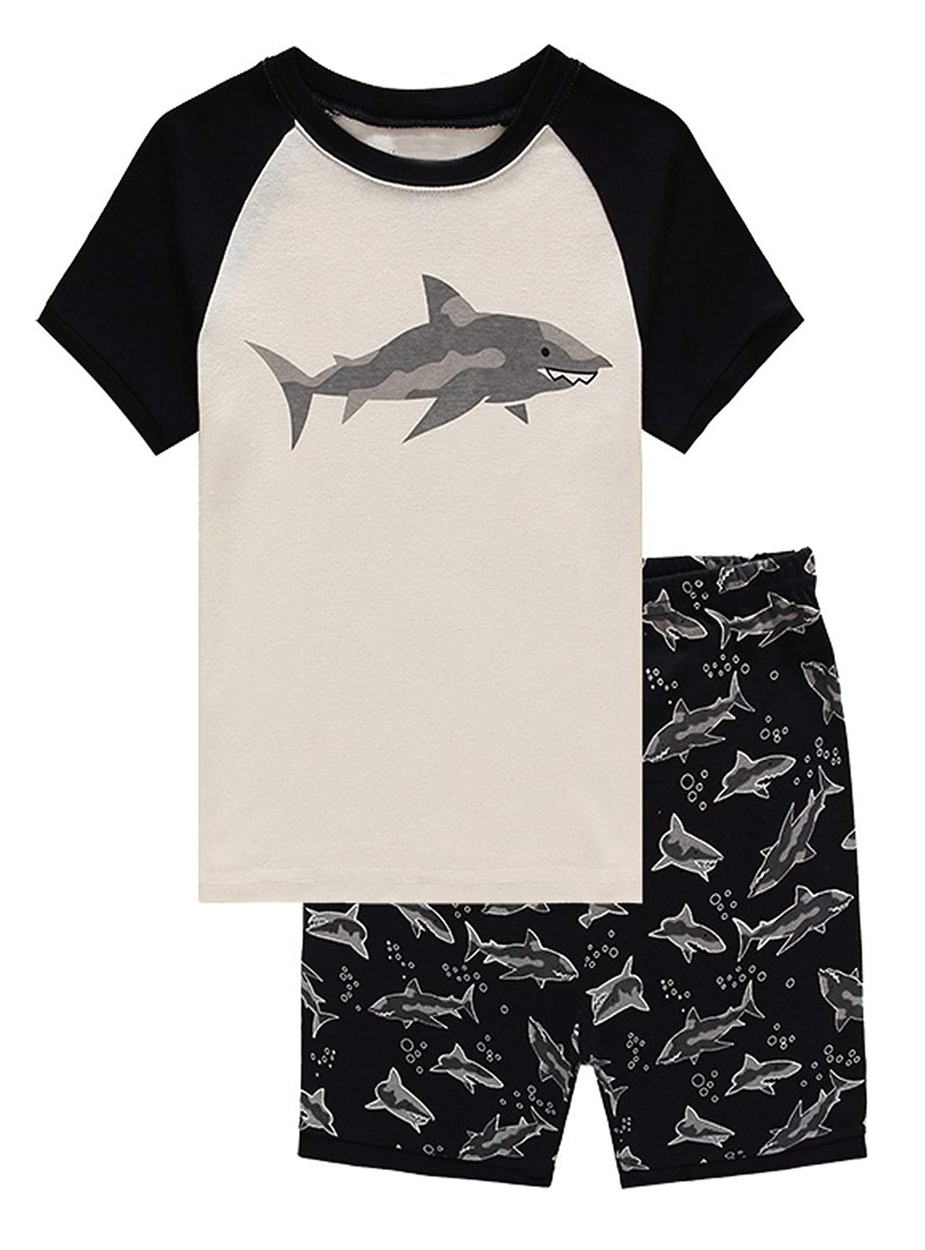 Family Feeling Shark Big Boys Shorts Set Pajamas 100% Cotton Sleepwear Toddler Kids Size 8 Black/White