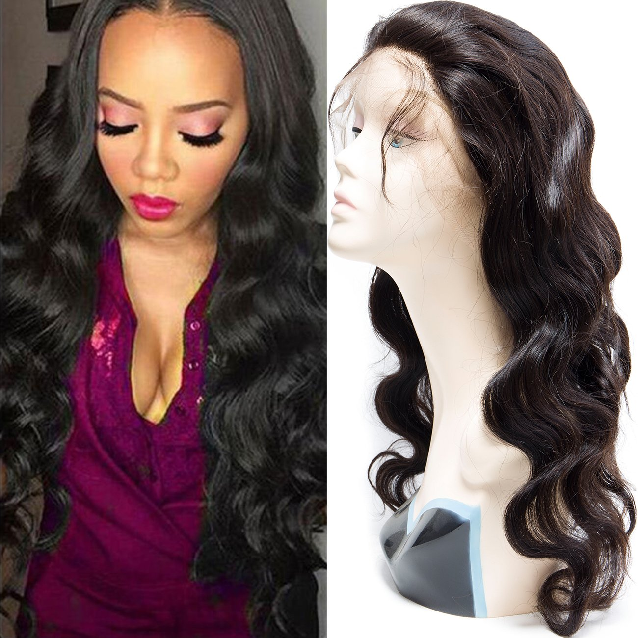 VIPbeauty Malaysian 360 Lace Frontal Wigs Human Virgin Hair with Baby Hair Natural Black 130% Density Pre Plucked Body Wave Wighs for Black Women 22inches