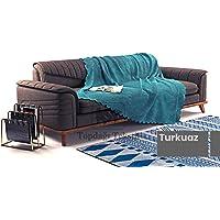 Sofa Şönil Dokuma Kaymaz Koltuk Örtüsü Şalı Takım - 12 renk seçeneği (Turkuaz, Polyester)