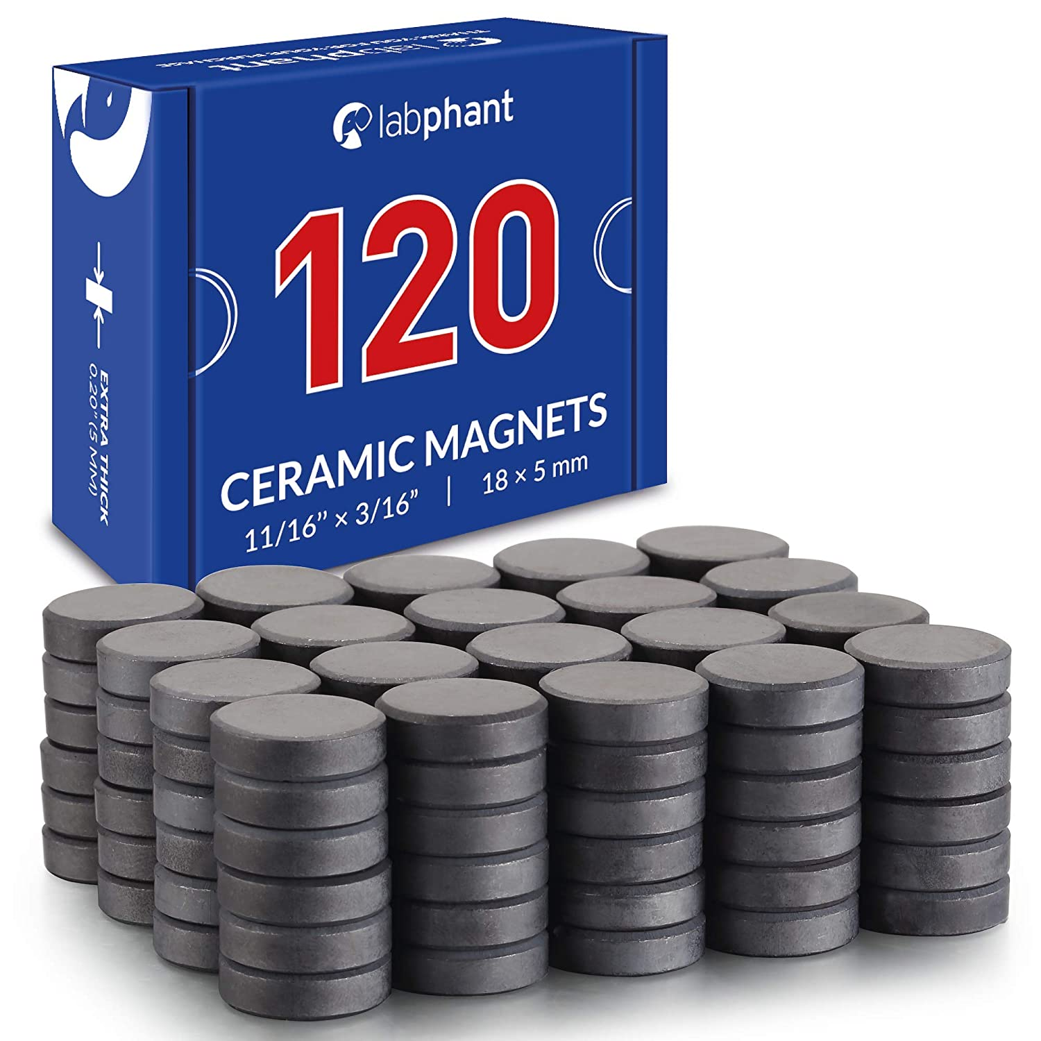 Ceramic Magnets, 120 Pieces Round Disk Magnets (Each .709 inch (Ø 18 x 5 mm Thickness) Craft Magnets, Perfect for DIY, Art Projects or for whiteboards & Fridge Organization