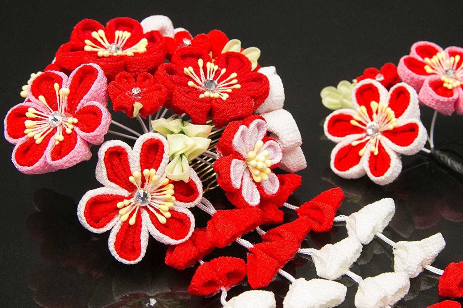 KYOETSU Womens Japanese Hair Ornament Set Kanzashi for Kimono Comb Prong 7w8200