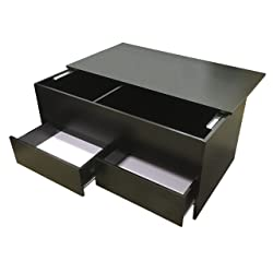 Redstone Black Coffee Table - Slide Top with Storage Inside and 2 Drawers - Wooden Ottoman Storage Chest