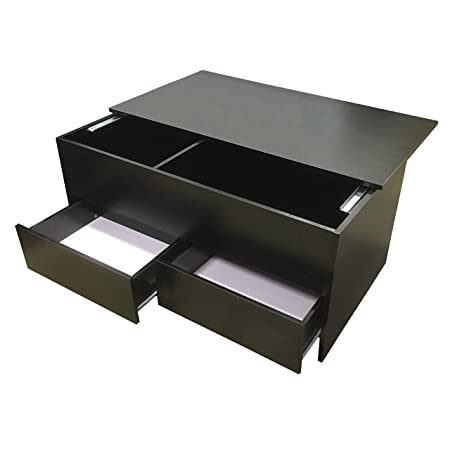 Redstone Black Coffee Table Slide Top with Storage Inside and 2
