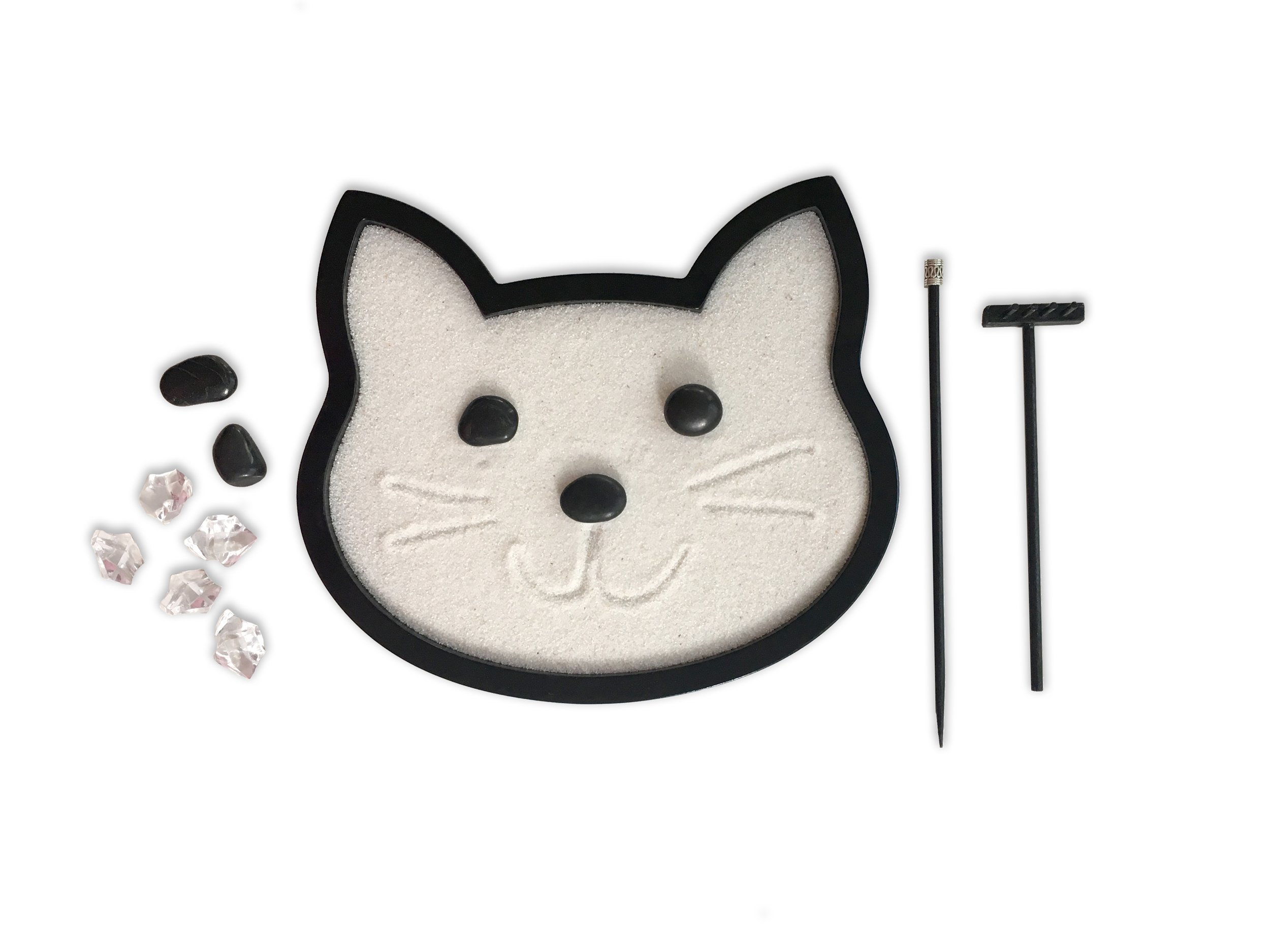 Mini Zen Garden Cat, Black Feline Kitty Cat Desktop Sandbox for Meditation and Relaxation by Zen Life