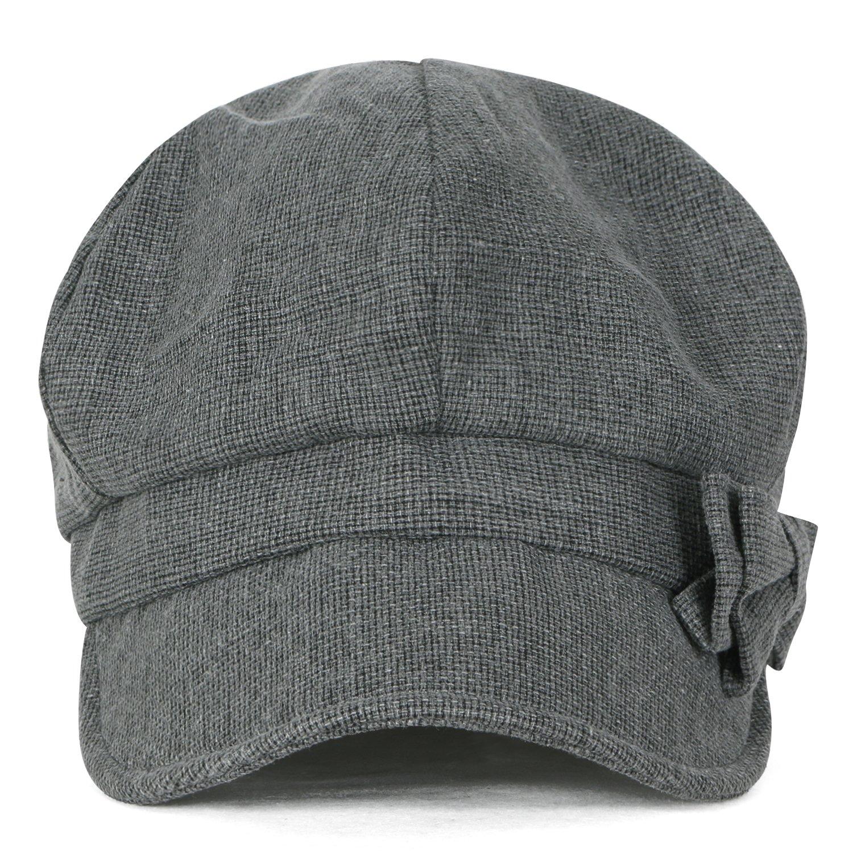 3b2a0203 ililily Ribbon Trim Cotton Big Apple Newsboy Hat Stretch-fit Flat Cabbie Cap,  Charcoal Grey at Amazon Women's Clothing store: