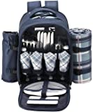 ALLCAMP Picnic Backpack Bag for 4 Person with Cooler Compartment, Detachable Bottle/Wine Holder, Fleece Blanket, Plates and Cutlery (Coffee)