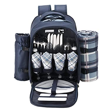 apollo walker TAWA Picnic Set Backpack for 4 with Cooler Compartment,Detachable Bottle/Wine Holder Including Large Picnic Blanket(45 x 53 ) for Picnic Family and Lovers Gifts,Outdoor,BBQ Time (Blue)