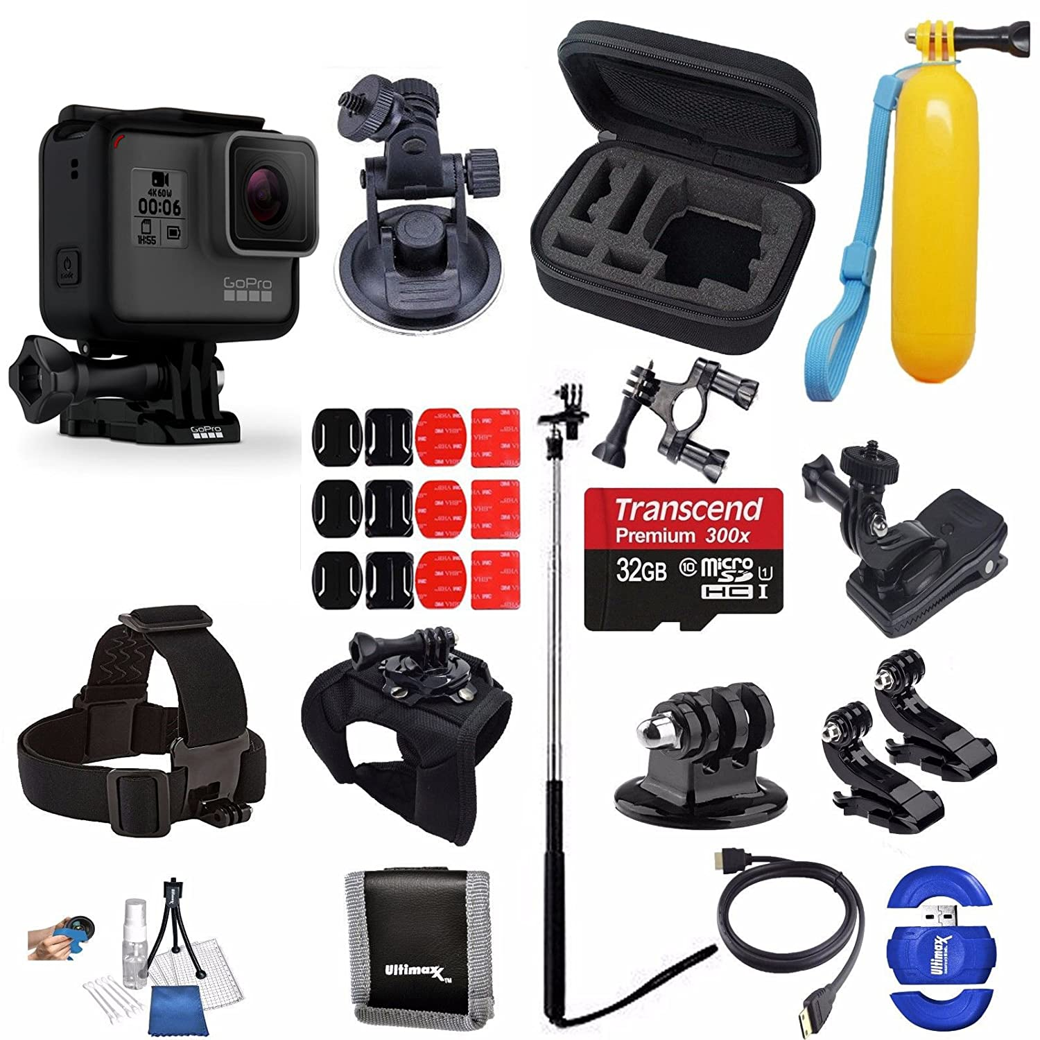 Amazon.com   GoPro HERO6 Hero 6 Black + SanDisk Ultra 32GB Micro SDHC  Memory Card + Hard Case + Much More Adventure Accessory Bundle   Camera    Photo 8a0670a1c