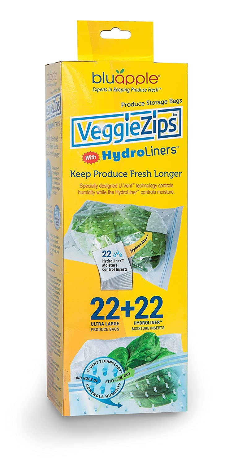 VeggieZips Premium Produce Bags by Bluapple The Experts in Produce Storage: 22 Bags + 22 HydroLiners to Keep Produce Fresh Longer - Reusable Bags Green Living, Helps to Control Humidity …