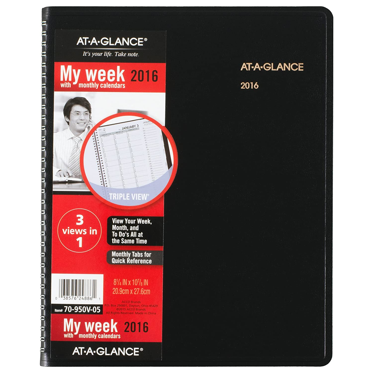 AT-A-GLANCE Weekly / Monthly Appointment Book 2016, Triple-View, 8-1/4 x 10-7/8 Inches, Black (70-950V-05)