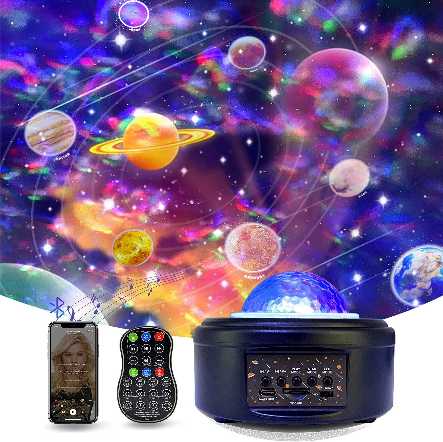 Planetarium Projector Galaxy Light Projector for Bedroom Star Projector Night Light with Voice Control & Bluetooth Speaker Ocean Wave Planet Projector for Kids Bedroom Ceiling Home Planetarium