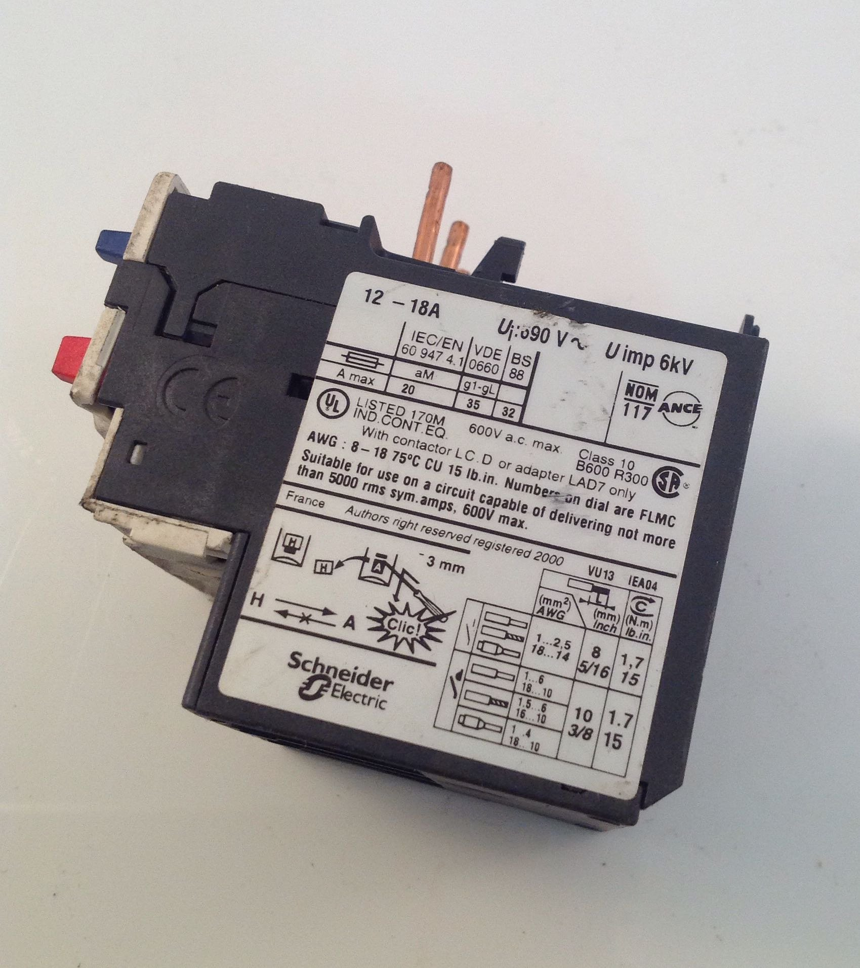 Telemecanique LRD21 Relay; Overload; Class 10; 12 TO 18 A; Used with TeSys D Contactors