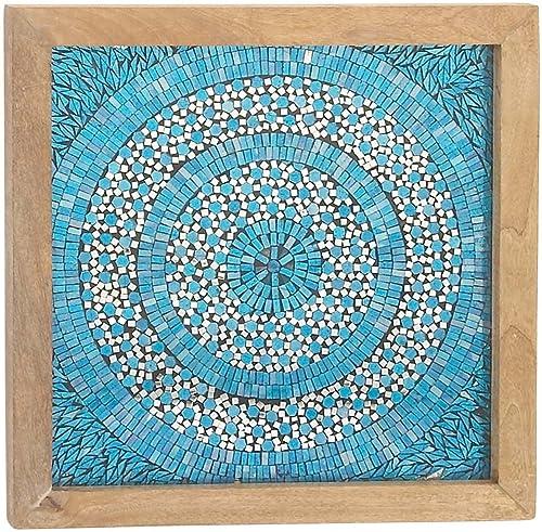 Deco 79 42222 Mosaic Wooden Wall Decor, 24 x 24 , Brown White Cyan