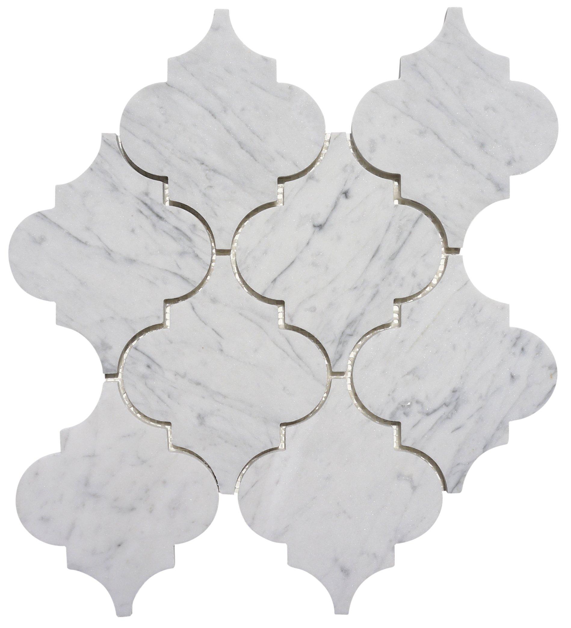 Italian Bianco Carrara (Carrera) White Marble LARGE Arabesque (Lantern) Mosaic Tile - Polished