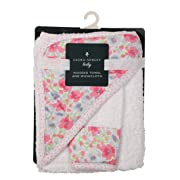 Laura Ashley Infant Hooded Towel and Washcloth, Flowers Print
