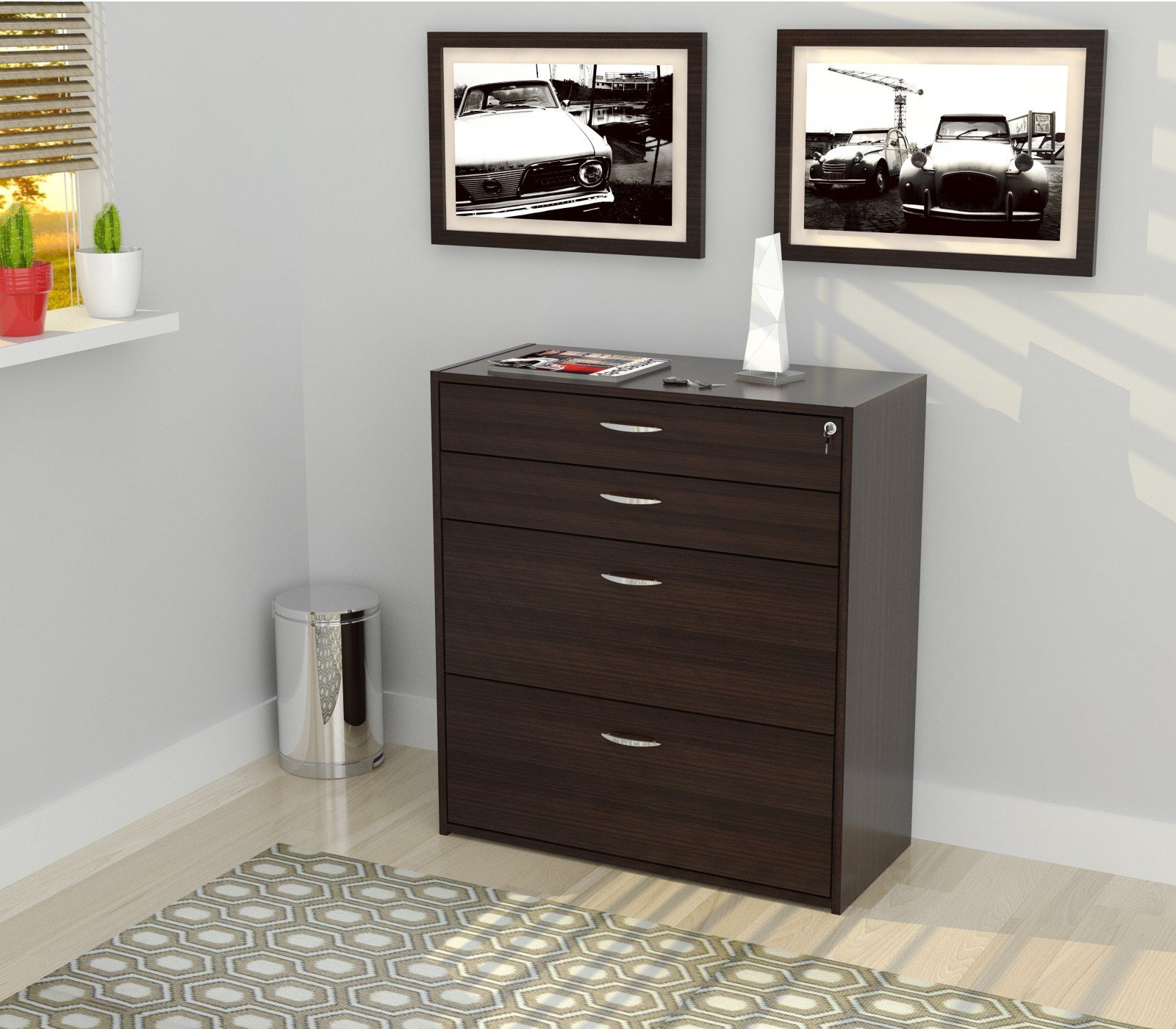 Inval America B2AR-2705 4 Drawer Storage/Filing Cabinet by Inval America (Image #2)