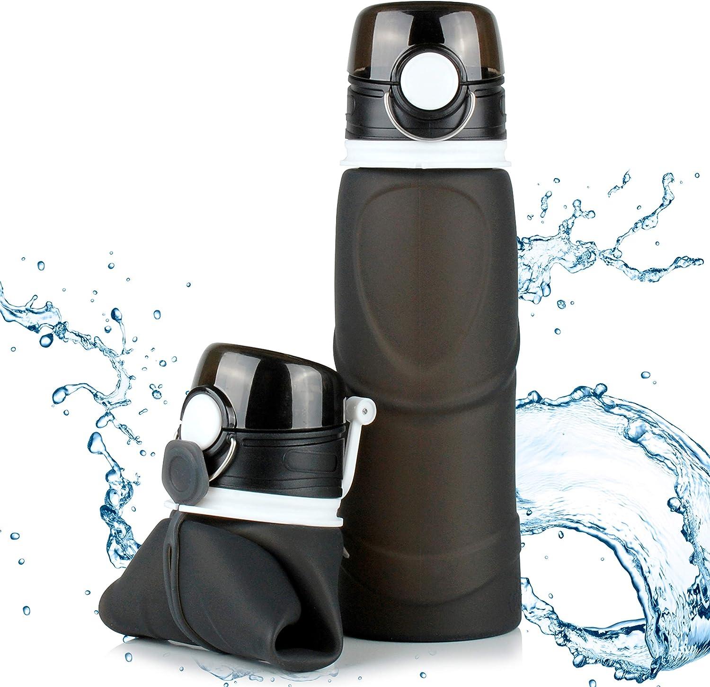 TROIKA - Botella de Silicona Plegable - Capacidad: 750 ml / 23,3 oz - Enrollable y antigoteo - para Deporte. para Uso en Exteriores. Escuela y Camping, sin BPA, Silicona médica, Color Negro