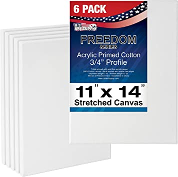 6 pack Stretched Canvas for Artists 11x14/""