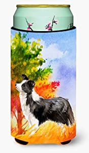 Caroline's Treasures CK1955TBC Fall Border Collie Tall Boy Beverage Insulator Hugger, Tall Boy, multicolor