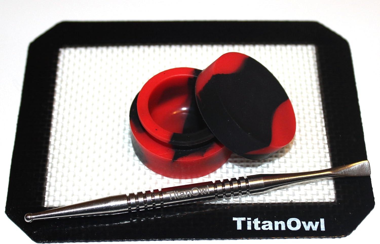 Titanium Carving Tool GR2 Silicone Mat Platnium Cured + Non-Stick Jar Container, 5.5