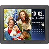 Véfaîî- Digital Picture Frame 15 Inch, Electronic Photo Music Video Frame Playback 1080P + Ultra Bright + 6 Ft Power Cord + Motion Sensor + Calendar + Supporting USB/SD Memory Card (Black)