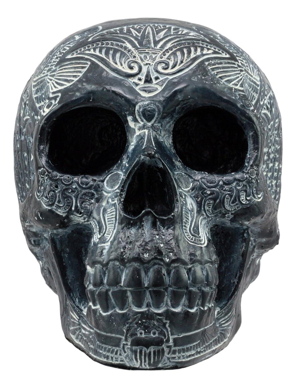 Ebros Black Ancient Egyptian Gods Paranormal Voodoo Scarab Dung Beetle Skull Statue 8.5 Long Spirit Medium Osiris Skeleton Cranium Figurine