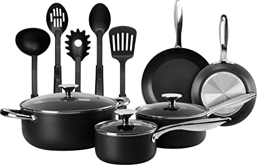 13 Pieces Heavy Duty Cookware Set - Black, Highly Durable, Even Heat Distribution, Double Nonstick Coating - Multipurpose Use for Home, Kitchen or Restaurant (Stainless Steel Handle)