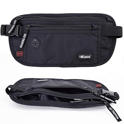c04d4a947bf3 GoTrippin Travel Money Belt, Waist Pouch Bag with RFID Security (Black)