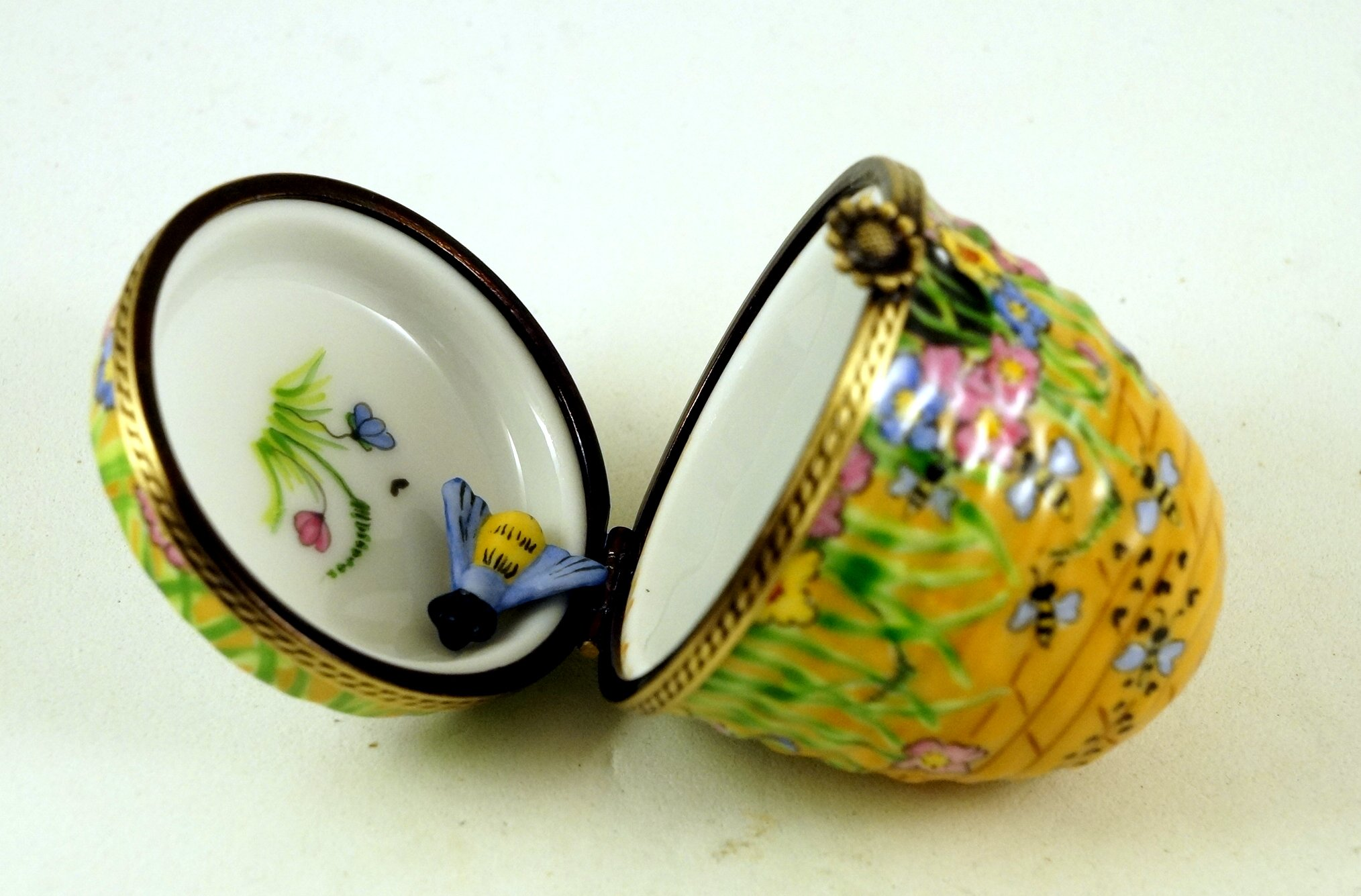 Authentic French Porcelain Hand Painted Limoges Trinket Box Amazing Colorful Beehive with Miniature Porcelain Removable Bee by Authentic Limoges Boxes (Image #4)