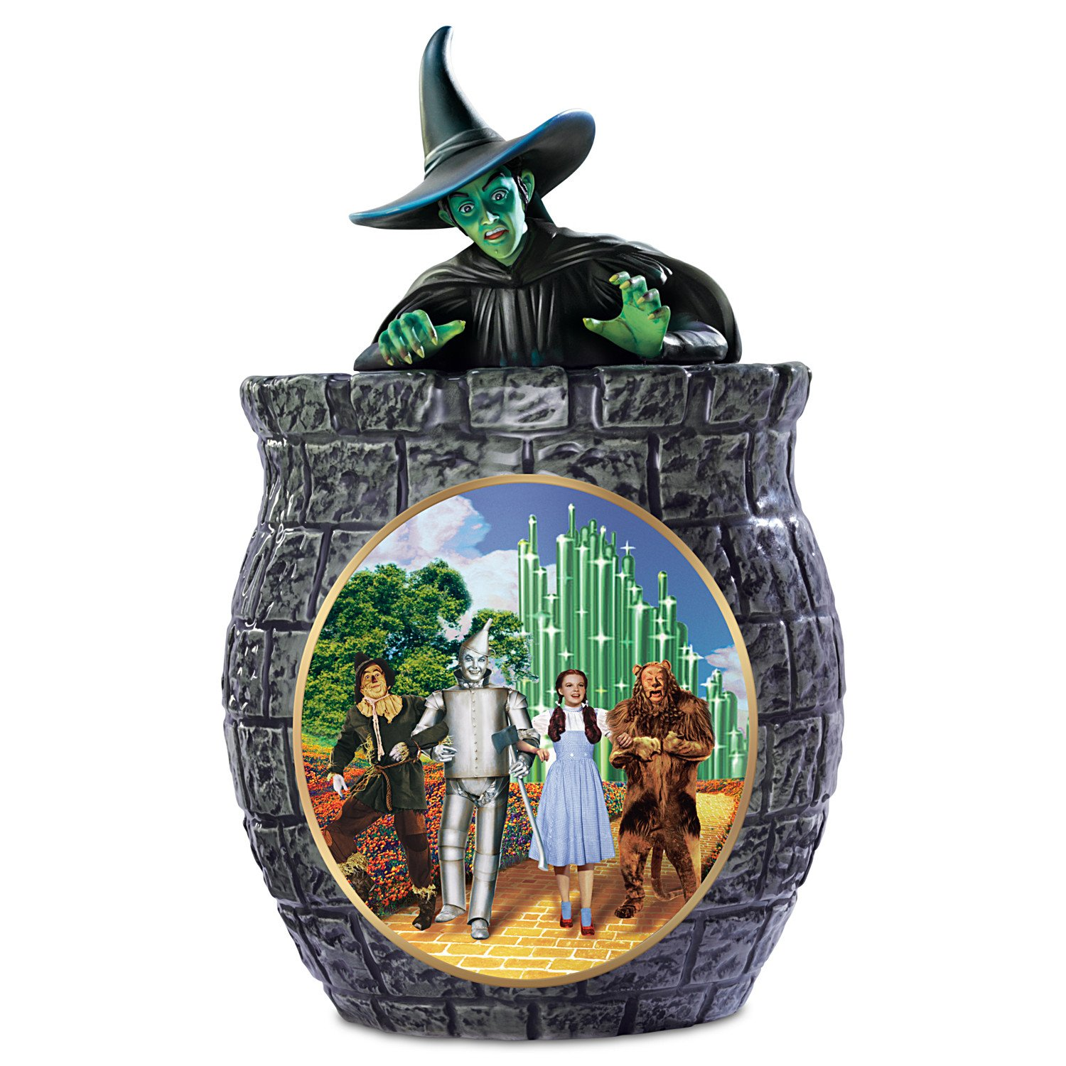 The Wizard Of Oz Cookie Jar With Wicked Witch Of The West, Dorothy, Scarecrow, Tin Man, And The Cowardly Lion by The Bradford Exchange by Bradford Exchange