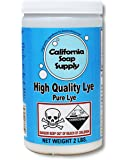 Pure Soap Making LYE, Sodium Hydroxide, 2LBS, Great for soapmaking, drain cleaning by California Soap Supply