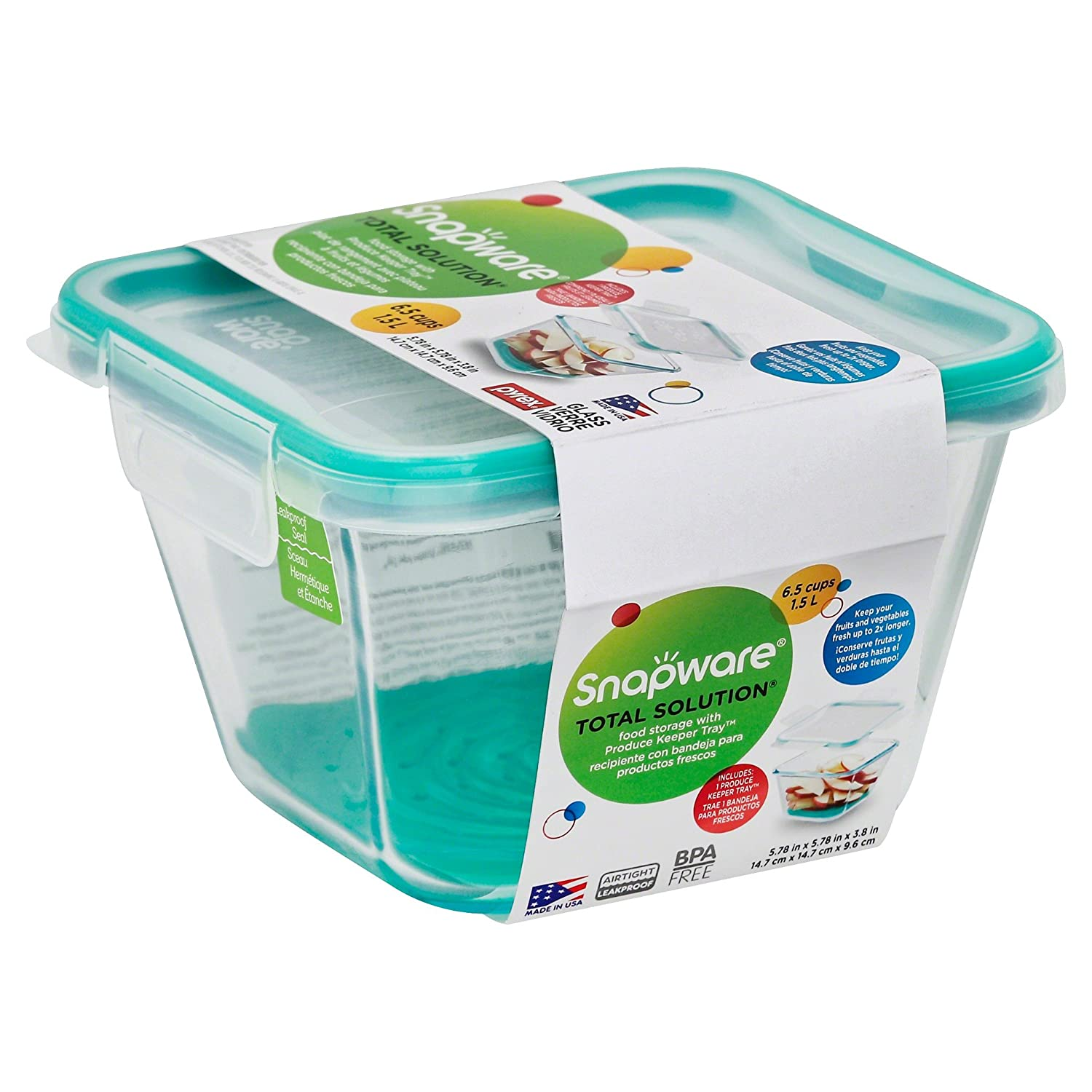 Amazon.com - Snapware 884408028503 1120320 6.5 Cup Square Pyrex Storage W/Green Produce Keeper, One Size -