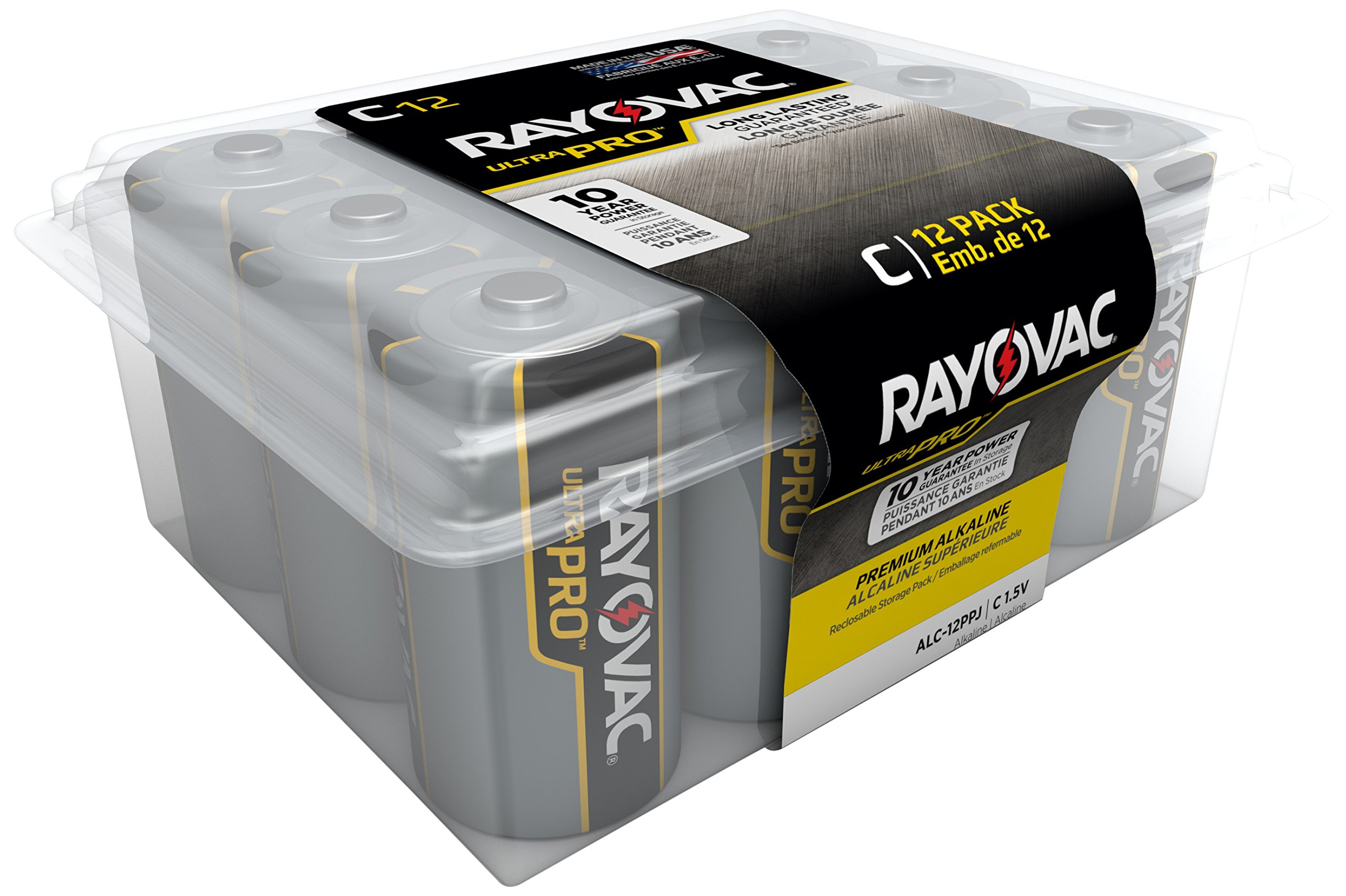 RAYOVAC C Ultra Pro Alkaline Batteries, 12-Pack with Recloseable Lid, ALC-12PPJ