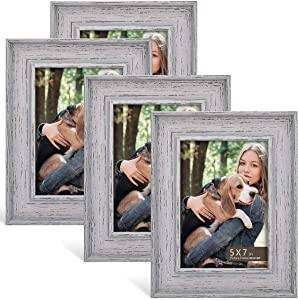 BOICHEN 5x7 Frame (4-Pack) - Picture Frames Rustic Farmhouse Gray Washed Distressed Frame - Photo Frame Set for Wall with Glass Cover Rotatable Backing Ready to Hang or Stand