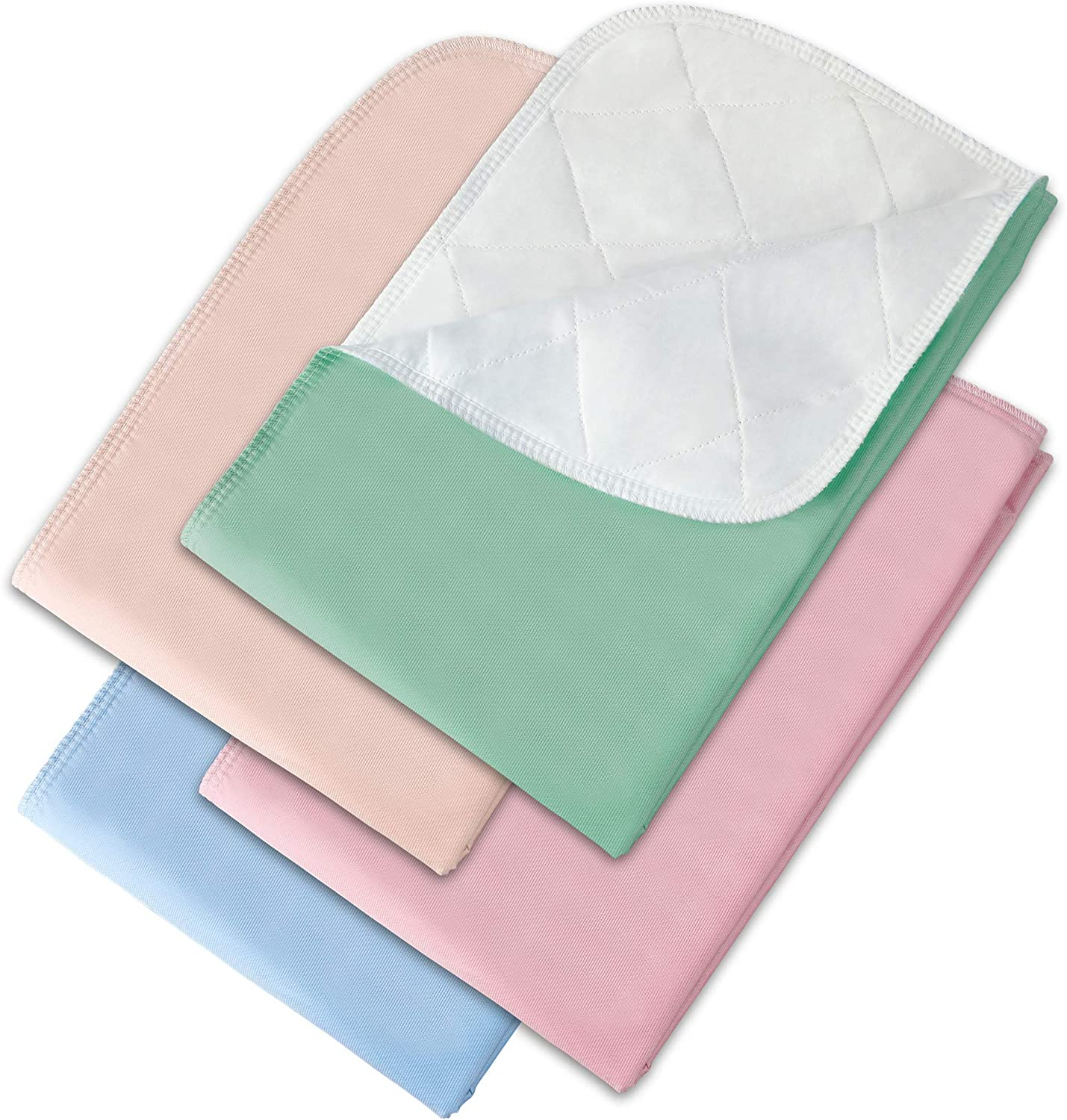 "Incontinence Bed Pads - 4 Pack 24"" x 36"" Reusable Waterproof Mattress Protectors - Highly Absorbent, Machine Washable - for Children, Pets and Seniors - Assorted Colors - Made in USA - Royal Care"