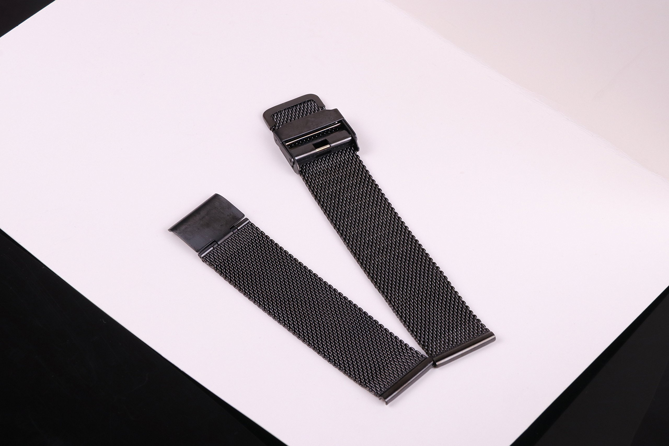 20mm Stainless Steel Mesh Watch Band Black Chainmail Mesh Strap Replacement for Business Sport Watches by autulet (Image #4)