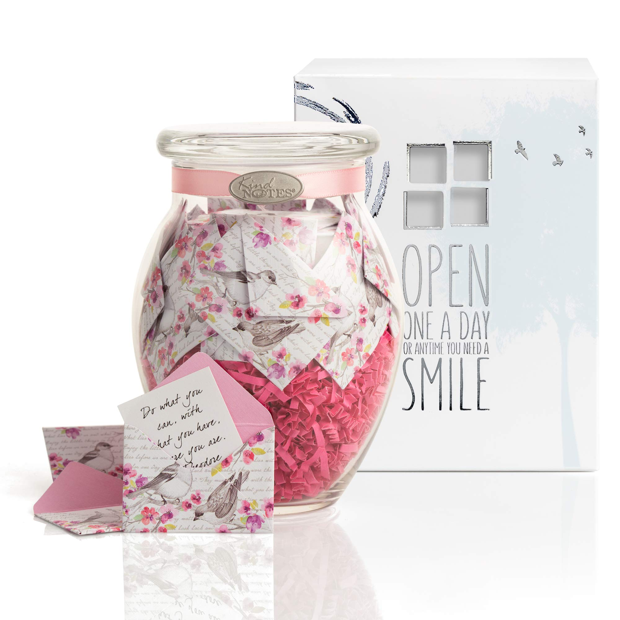 KindNotes Glass Keepsake Gift Jar with GET Well Messages - Birds and Flowers
