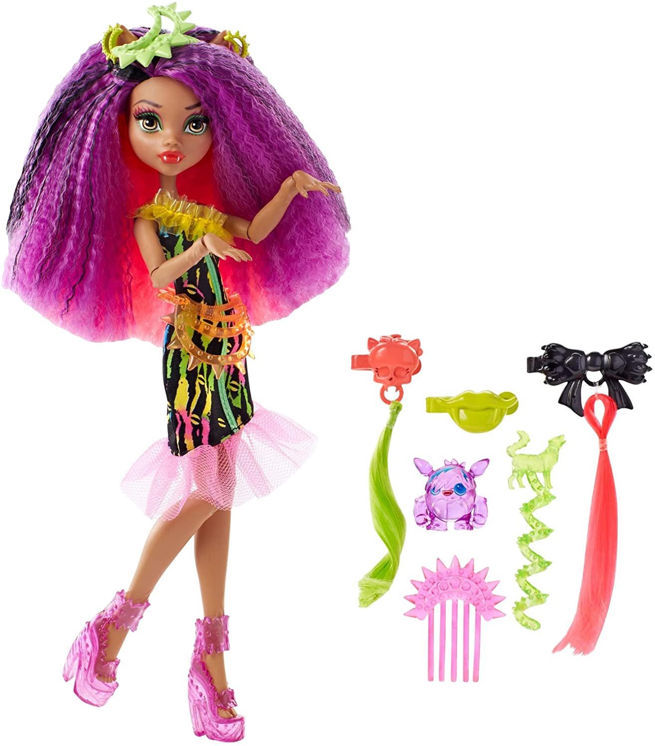 Amazon Com Monster High Electrified Monstrous Hair Ghouls Clawdeen Wolf Doll Toys Games