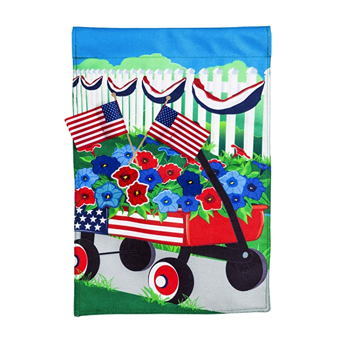 Evergreen Flag Beautiful Stars and Stripes Wagon Burlap Garden Flag - 13 x 1 x 18 Inches Fade and Weather Resistant Outdoor Decoration For Homes, Yards and Gardens