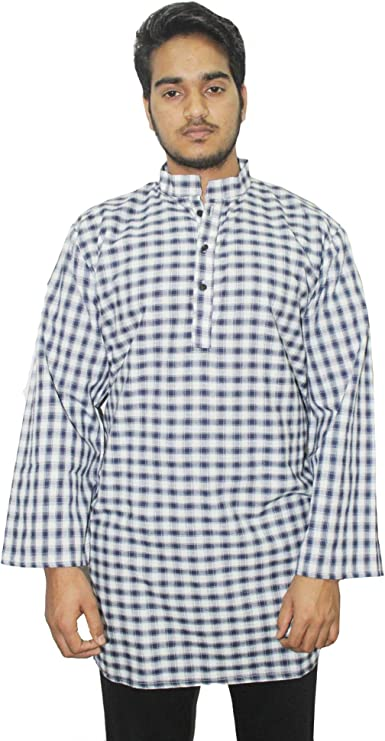 Lakkar Haveli Indian 100/% Cotton Men Loos Fit Kurta Geometric Print Maroon Color Plus Size