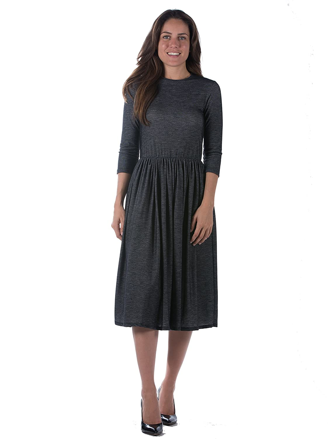 Go Couture Modest Women's Dark Indigo Ruched Waist 3/4 Length Sleeve Dress