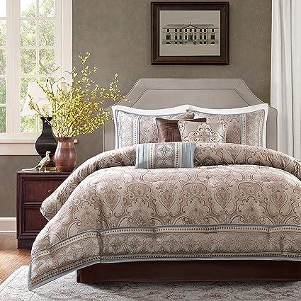 Amazon.com: K-U-P 7 Pc Taupe, Beautiful Comforter Set King Size ...