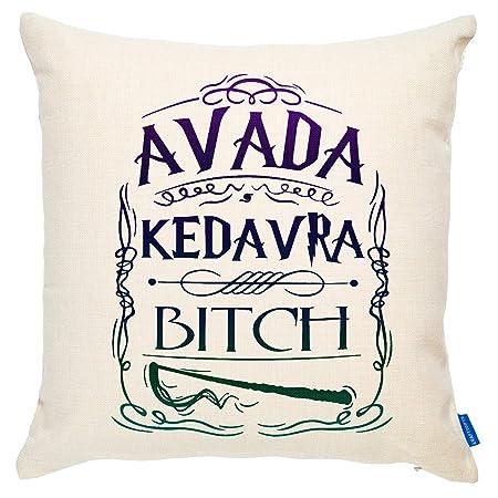 KRAFTYGIFTS Avada Kedavra Funda de cojín con Cita de Harry ...
