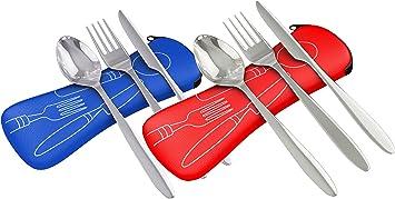 Acero inoxidable de 3 piezas (cuchillo, tenedor, cuchara) ligero, cubertería de camping de viaje con funda de neopreno,rojo y azul, pack de 2: Amazon.es: Deportes y aire libre